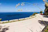 Red car on coast road overlooking Mediterranean Sea, Banyalbufar, Mallorca, Spain