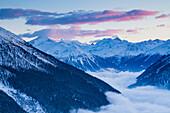 Lauchernalp in the afterglow, Bishorn, Weisshorn and Dent Blanche in the background, Canton Wallis, Valais, Switzerland, Europe