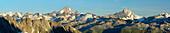 Panorama of the Bernese Alps with view to Finsteraarhorn, Lauteraarhorn and Schreckhorn, UNESCO World Heritage Site Swiss Alps Jungfrau-Aletsch, Gotthard range, Ticino, Switzerland