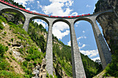 Rhaetian Railway driving over the Landwasser-Viaduct, Landwasser-Viaduct, Rhaetian Railway, Albulabahn, UNESCO World Heritage Site Rhaetian Railway, Grisons, Switzerland
