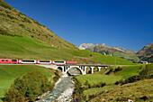 Glacier Express, Matterhorn Gotthard railway, Furka Pass, Andermatt, Uri, UNESCO World Heritage Site Rhaetian Railway, Rhaetian Railway, Switzerland