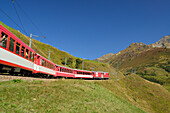 Matterhorn Gotthard railway, Oberalp Pass, Andermatt, Uri, UNESCO World Heritage Site Rhaetian Railway, Rhaetian Railway, Switzerland