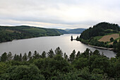 View over the artificial lake Vyrnwy, North Wales, Great Britain, Europe