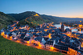 View at Bernkastel-Kues with Landshut castle in the evening, Moselle, Rhineland-Palatine, Germany