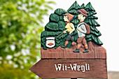 Wii-Wegli hiking sign, Efringen-Kirchen, Markgraeflerland, Black Forest, Baden-Wuerttemberg, Germany, Europe