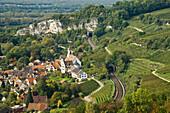 View of Isteiner Klotz and railway line, Efringen-Kirchen, Markgraeflerland, Black Forest, Baden-Wuerttemberg, Germany, Europe