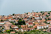 View towards Gardasee and the city of Torri del Benaco, Lago di Garda, Province of Verona, Northern Italy, Italy