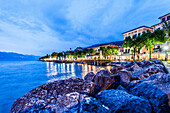Lake promenade of Torri del Benaco in the evening light, Lago di Garda, Province of Verona, Northern Italy, Italy