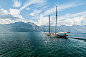 Sailing ship on Lake Garda near Malcesine, Lago di Garda, Province of Verona, Northern Italy, Italy
