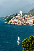 View to lake Garda and Malcesine, Lago di Garda, Province of Verona, Northern Italy, Italy
