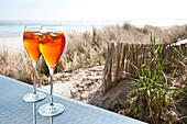 Refreshing drink on the beach at Scharbeutz, Schleswig Holstein, Germany