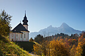 Maria Gern pilgrimage church, view onto Watzmann, Berchtesgaden region, Berchtesgaden National Park, Upper Bavaria, Germany, Europe