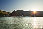 St Goarshausen with Katz castle, Rhine river, Rhineland-Palatinate, Germany, Unesco World Cultural Heritage