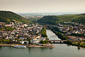 View to the estuary of the Nahe river into the Rhine river, near Bingen, Rhine river, Rhineland-Palatinate, Germany