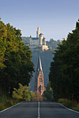 View from federal road B 9 to the church St Lambertus at Spay, above Marksburg castle, Unesco World Cultural Heritage Site, near Braubach, Rhine river, Rhineland-Palatinate, Germany