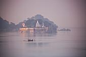 Temples on islands along Ganges river, near Bhagalpur, Bihar, India