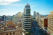 sight of the City from Gran via, Madrid, Spain.