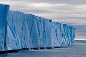 Norway, Svalbard, Spitsbergen, Nordaustlandet , Brasvell´s glacier , the ice melt , rivers and fountains flowing water