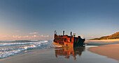 Maheno Wreck, Maheno, wreck, ship wreck, beach, seashore, stranded, skeleton, rust, grate, lonely, tourism, attraction, east coast, Fraser Island, Queensland, Australia, sea, waves, clouds, ship, 1935, skeleton, place of interest, landmark, sunrise, sun,.