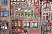 Travel, Geography, Architecture, Culture, Europe, Switzerland, Schaffhausen, Stein am Rhein, Town, No People, nobody, Horizontal. Travel, Geography, Architecture, Culture, Europe, Switzerland, Schaffhausen, Stein am Rhein, Town, No People, nobody, Horizon