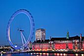 UK, United Kingdom, Great Britain, Britain, England, London, Westminster, Embankment, London Eye, County Hall, Thames River, River Thames, Thames, Landmark, Night View, Illumination, Tourism, Travel, Holiday, Vacation. UK, United Kingdom, Great Britain, B