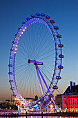 UK, United Kingdom, Great Britain, Britain, England, London, Westminster, Embankment, London Eye, County Hall, Thames River, River Thames, Thames, Landmark, Night View, Illumination, Tourism, Travel, Holiday, Vacation. UK, United Kingdom, Great Britain, B