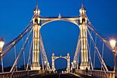 UK, United Kingdom, Great Britain, Britain, England, London, Chelsea, Albert Bridge, River Thames, Thames River, Thames, Bridge, Bridges, Night View, Illumination, Tourism, Travel, Holiday, Vacation. UK, United Kingdom, Great Britain, Britain, England, Lo