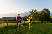 Trailrunning, Trail running, Trail, Ramsau, Dachstein, Styria, Austria, couple, woman, man, meadow, running, walking, run, jogging, sport, fitness, health. Trailrunning, Trail running, Trail, Ramsau, Dachstein, Styria, Austria, couple, woman, man, meadow,