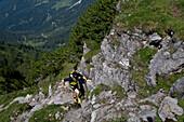 Trailrunning, Trail running, Trail, Ramsau, Dachstein, Styria, Austria, man, precipitous, steep, running, walking, run, mountains, mountain run, jogging, sport, fitness, health,. Trailrunning, Trail running, Trail, Ramsau, Dachstein, Styria, Austria, man,