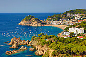 Spain, Europe, Catalonia, Costa Brava Coast, Tossa de Mar, town, beach, blue, boats, bright, cliff, coast, colourful, Costa Brava, girona, holiday, Mediterranean, nature, picturesque, pine tree, skyline, tossa, tour, tourism, travel, vacation, water, sea,