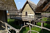 The Pfahlbauten is an open air museum displaying reconstructions of Neolithic and Bronze Age pile dwellings  The buildings are idealized reconstructions from between the 1922 and 1941, which were designed based on archeological digs of the Wasserburg Buch