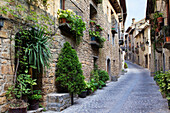 Street in Aínsa, a medieval village in Sobrarbe region, declarated Historical-Artistic Site  Huesca, Aragón, Spain