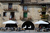 Main square of Aínsa, a medieval village in Sobrarbe region, declarated Historical-Artistic Site  Huesca, Aragón, Spain