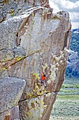 Nic Houser rock climbing a route called Techno Weenie which is rated 5,11 and located on the Building Blocks at The City Of Rocks National Reserve near the town of Almo in southern Idaho