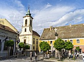 Szentendre near Budapest Main Square foe ter with plague Column and the Blagovescenska church Szentendre, which calls itself the town of artists and churches, is located on the banks of river Danube close to Budapest and is one of the major attractions in