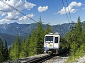 Bayerische Zugspitzbahn BAvarian Cog or rack railway near Riffelriss station at about 1600m  The Rack railway starts in Garmisch-partenkirchen and leads up to the peak of Mount Zugspitze, the highest peak of Germany  It is operating during the whole year.