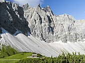 Karwendel Mountain Range, the peaks towards Mt  Bockkar-Spitze and the mountain hut Falkenhuette, Austria  The mountain hut Falkenhuette is a popular destination for climbers, mountainbiker and hiker  The Karwendel limestone mountain range is the largest.