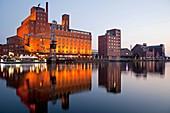 Duisburg Inner Harbour with Warehouse Werhahnmuehle, North Rhine-Westphalia, Germany, Europe