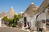 Trulli buildings and shops, Via Monte San Michele, Rione Monti, Alberobello, Bari province, Puglia region, Italy