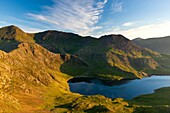 The Snowdon Horseshoe from Lliwedd Bach with Snowdon on the left, Garnedd Ugain mountain and Llyn Llydaw lake in the centre and Crib Goch on the right, Snowdonia National Park, Wales