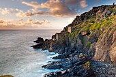Remains of The Crowns tin mine engine houses on the Cornish Atlantic coast near Botallack