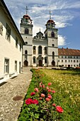 Monastery Rheinau, Switzerland, located at an island in the river Rhine  Monastery yard