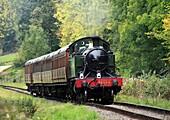 No 4566 2-6-2 Small Prarie Tank Engine heads towards Hampton Loade, Shropshire, England, Europe
