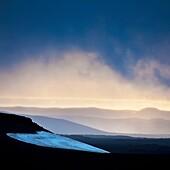 Sunset over ash filled landscapes, Mt Thoristindur  Grimsvotn volcanic eruption, Iceland  Eruption began on May 21, 2011 spewing tons of ash