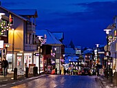 Christmas time- Laugavegar, the main shopping street of downtown Reykjavik, Iceland