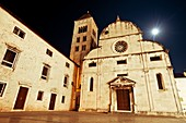 Just opposite Saint Donat in Zadar, Croatia, stands the Museum of Church on a moonlit summer evening