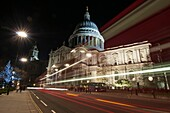 St  Paul´s Cathedral, motion blur lights at night, from the south, London, United Kingdom