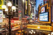 A view down 42nd Street, Midtown Manhattan, New York City, New York, North America, USA