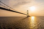 Oresund Bridge between Scania and Danmark during sun set, Baltic Sea, Oresund, Scandinavien