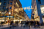 Shopping street in Hamburg called Neuer Wall at christmas time, Hamburg, north germany, germany